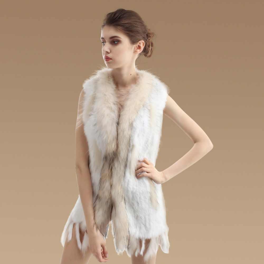 Nouveau réel gilet de fourrure longue véritable tricoté de fourrure de lapin gilet de fourrure de raton laveur col coupe gilet hiver sans manches veste de fourrure DX258
