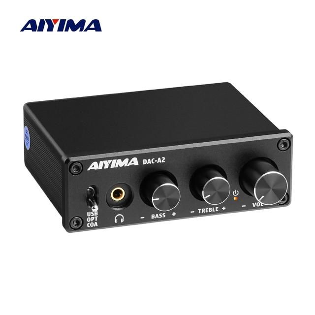 Aiyima Audio Decoder Fiber Coax Usb Decoder Bass Treble Aanpassing Dac Met Hoofdtelefoon Versterker Voor Thuis Geluid Theater