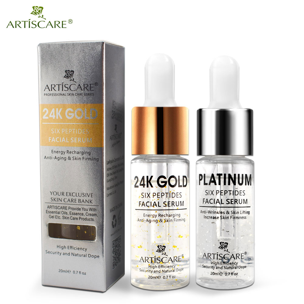 ARTISCARE Platinum + 24k Gold Six Peptides Serum For Face Hyaluronic Acid Facial Serum Whitening And Anti-Wrinkle Skin Care 2PCS