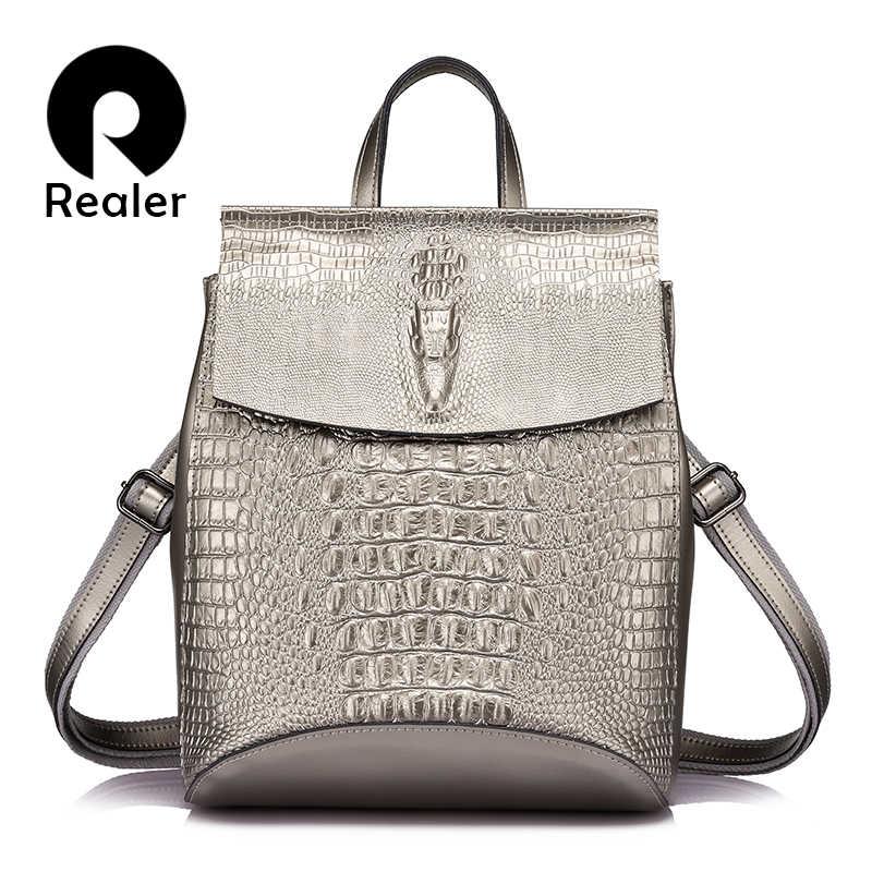 REALER moda kadınlar sırt çantası yüksek kaliteli bölünmüş deri crossbody omuzdan askili çanta kadın timsah baskı büyük çok fonksiyonlu çanta