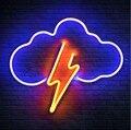 Cloud Lightning Bolt Custom Handmade Real Glass Tube Bar Store Home Aesthetic Room Decor Gift Display Sign Neon Light 17