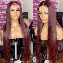 Бордовые 13X4 парики из человеческих волос на сетке спереди, парики для женщин, предварительно выщипанные 180% бордовые бразильские прямые пар...