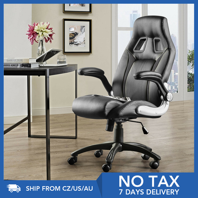 Furgle PU leather Office Chair 360° Swivel Gaming Chair with Comfortable Foam-padded Armrest Waterproof for Office Furniture 1
