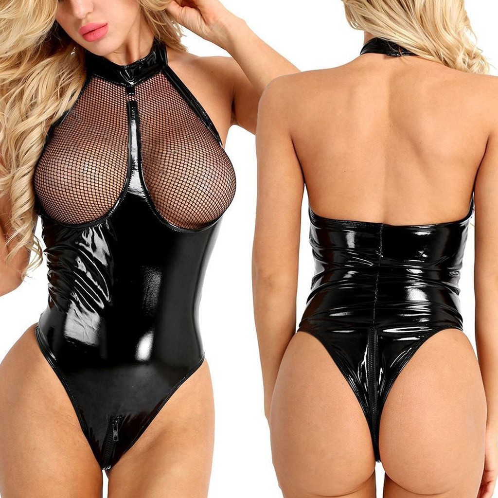 Plus Size Sexy Leather Lace Lingerie Women Underwear Erotic Porno Transparent Babydoll Sleepwear Sexy Teddy Nightgown Langerie