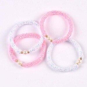 2 шт., милый детский свитер с блестками и жемчугом, белый и розовый, браслет для детей, подарок cp2723