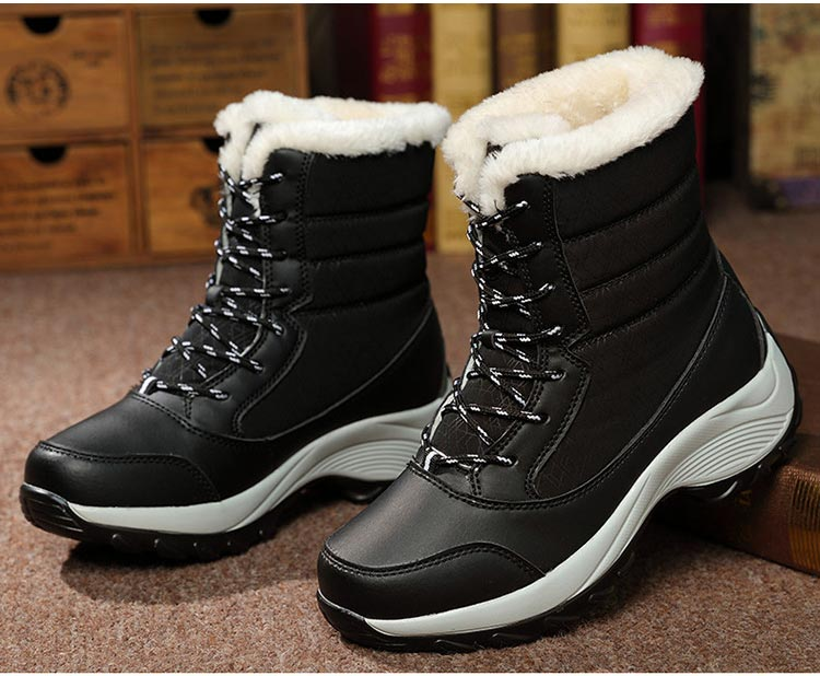 Winter boots women shoes 2019 fashion solid waterproof casual shoes woman hook&loop ankle boots warm plush snow women boots (8)