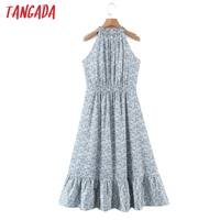 Tangada 2021 Summer Fashion Women Flowers Print Halter Dress Sleeveless Ruffles Female Casual Long Dress SL06 6