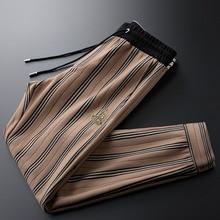 Light luxury coffee camel striped guard pants woolen elastic waist men's business casual pants autumn and winter men's pants