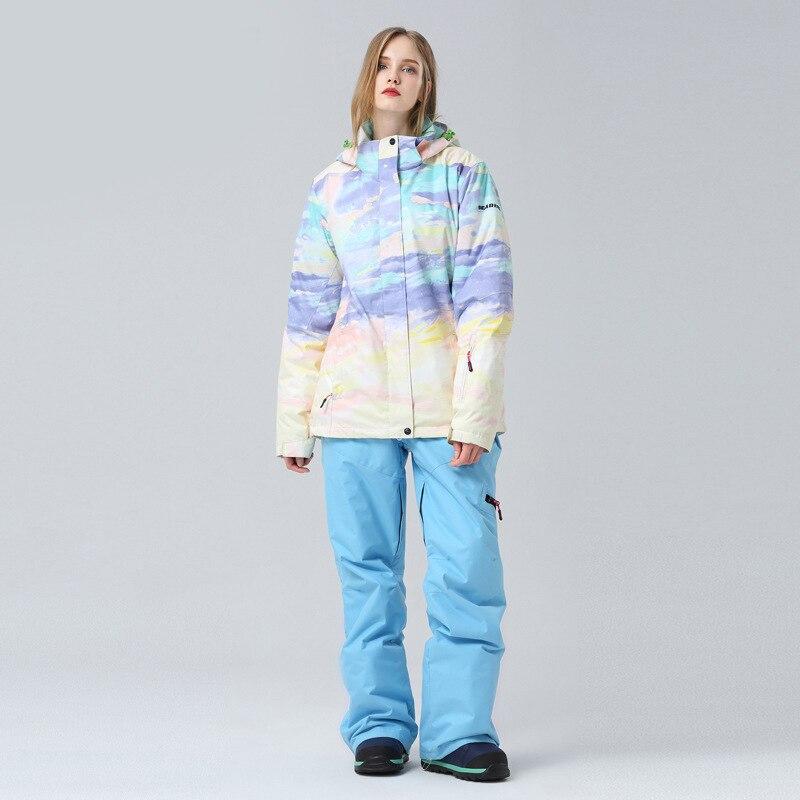 2021 New Women Ski Suit Waterproof Outdoor Snowboard Jacket Windproof Warm Overalls Winter Clothing Thicken Ski Set