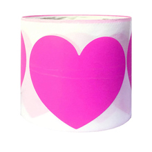Silver Foil Label Pink Handmade Scrapbook Sticker Heart Shaped Decorative 500pcs / 2inch