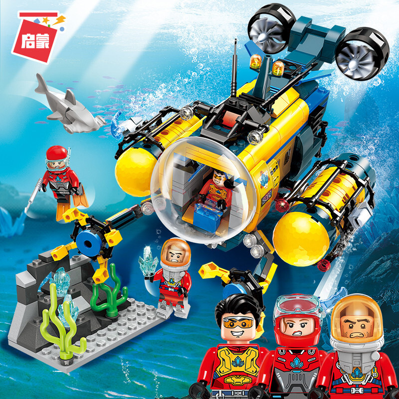 Diving Spar Shark Mining Drilling Machine Submarine Building Blocks Sets Bricks Model Kid Toys Compatible Legoinglys City