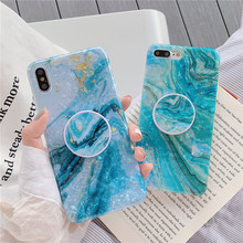 Crenisen Kickstand Finger holder marble cell phone coque For Apple iPhone 6s case X xs max XR 8 7 plus 6  funda cover