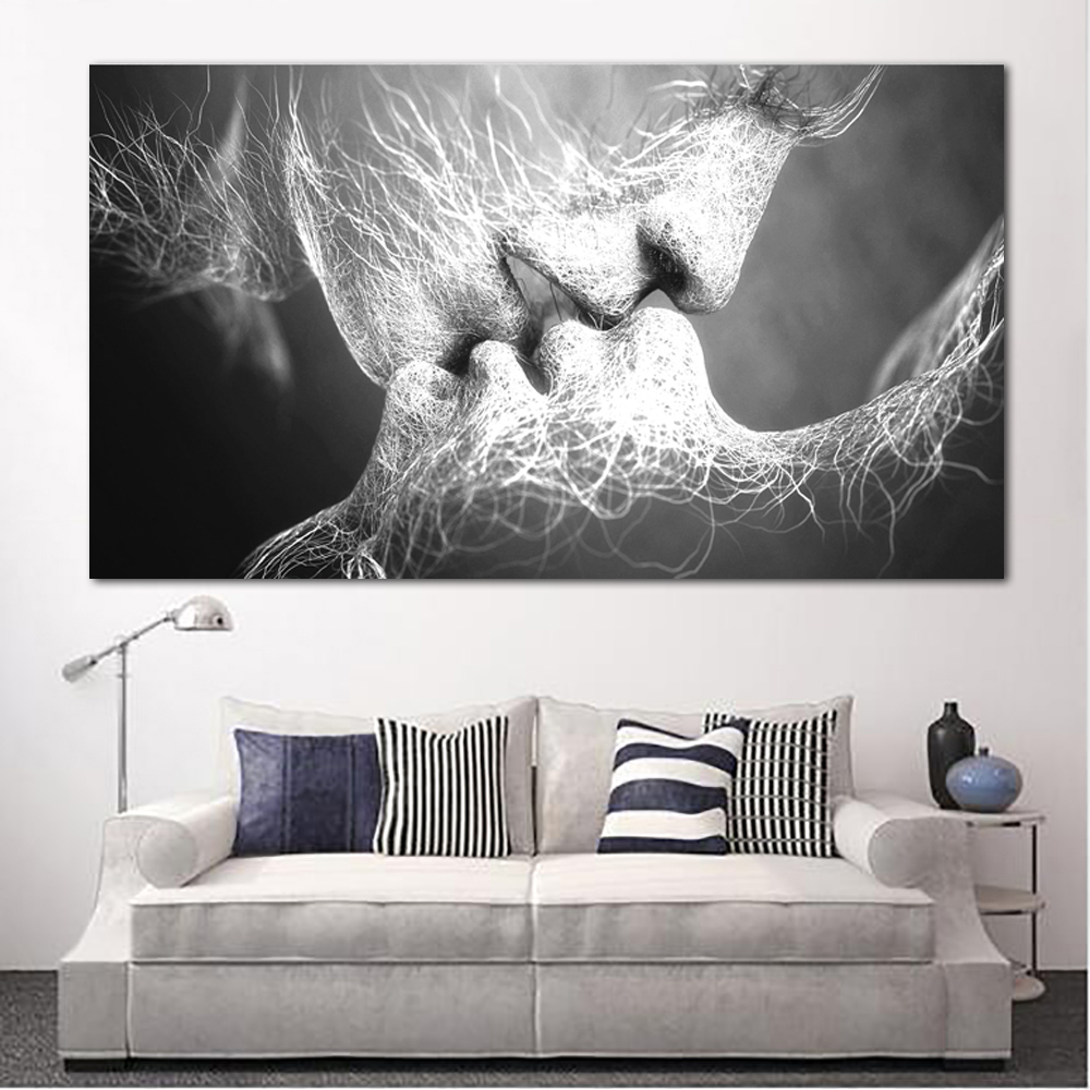 Unframed Abstract oil painting Love Kiss Wall Art Canvas Prints Pictures For Living Room Modern Pictures Innrech Market.com