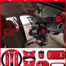Искусственный плюшевый чехол рулевого колеса автомобиля подголовник ремень безопасности мультфильм Микки Минни украшение интерьера автомобиля