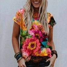 Flor de verano patrón de camisetas de talla grande de las mujeres pantalón corto Casual manga cuello en V blusas mujer manga Corta joven belleza Tee Top