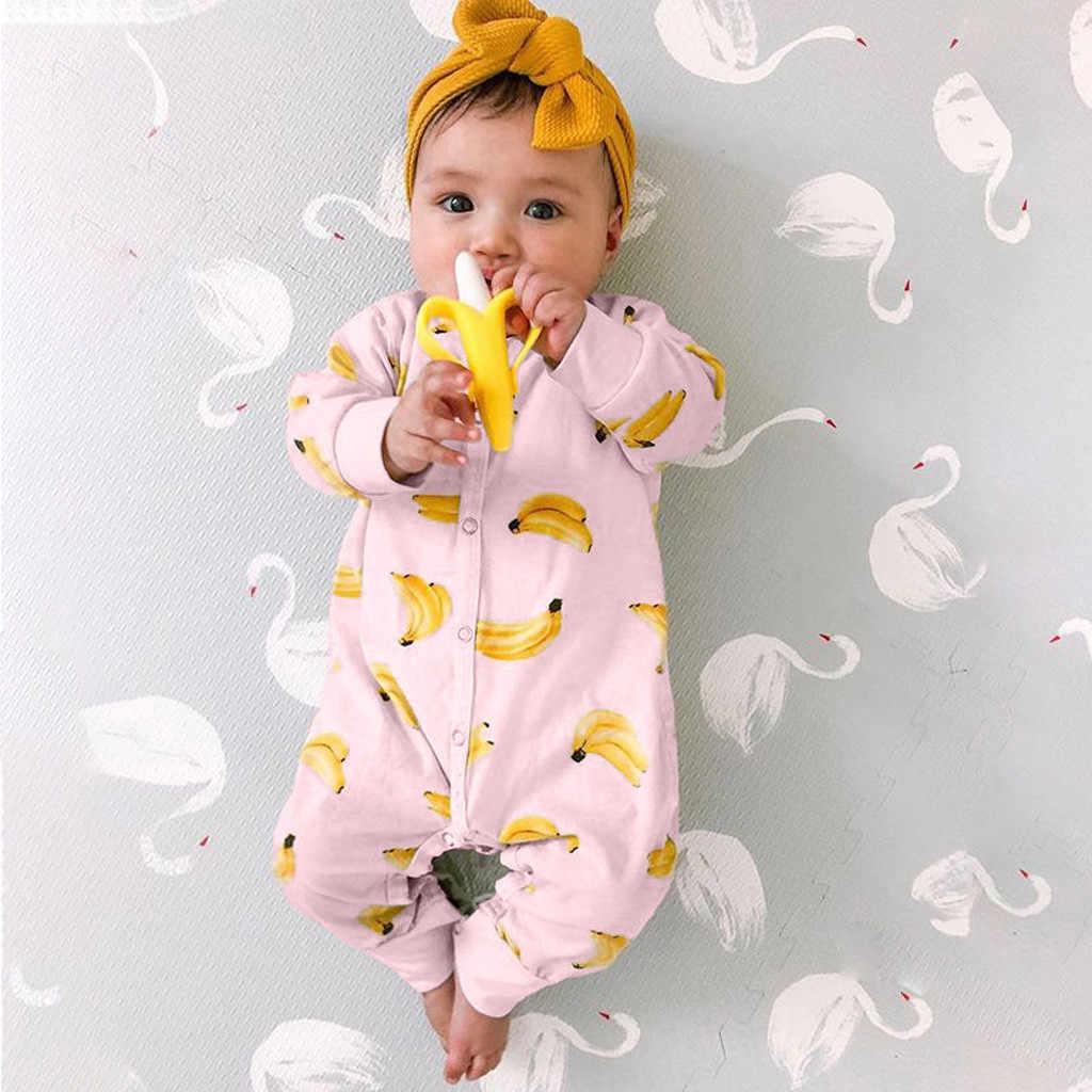 2019 Recien Nacido Anak Lengan Panjang Pisang Kartun Blus Jumpsuit Bayi Gadis Anak Laki-laki Banana Jumpsuit Piyama Lembut 40 *