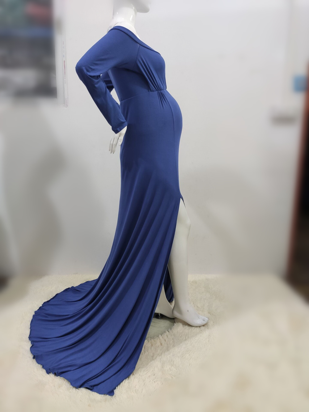 Sexy Shoulderless Maternity Dresses For Photo Shoot Maxi Gown Split Side Women Pregnant Photography Props Long Pregnancy Dress (26)