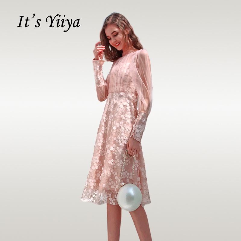 It's Yiiya   Cocktail     Dress   Elegant Long Sleeve Beading Short   Cocktail     Dresses   Appliques Zipper Women Robe   Cocktail   Gowns E617