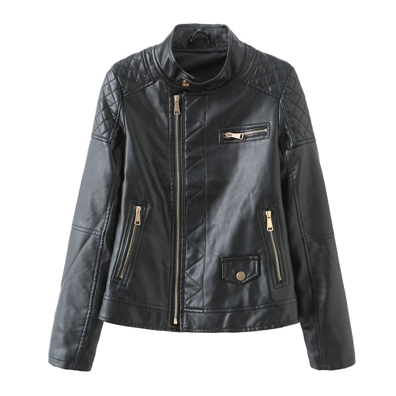 Smlinan Faux Pu Ladies Leather Jacket Plus Size 3xl Mandarin Collar Long Sleeve Coat Female Motorcycle Hot Pink Leather Jackets