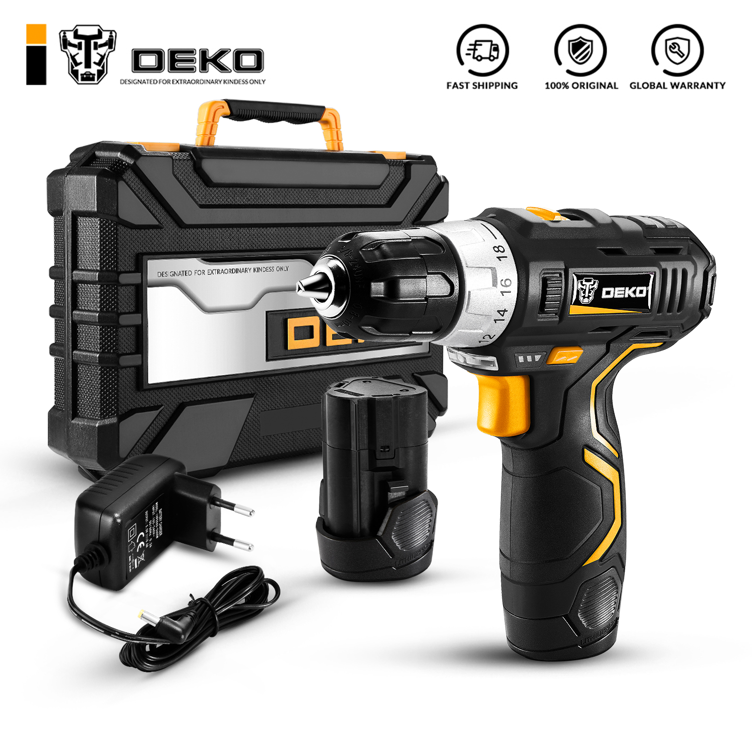 DEKO Power-Driver Battery Cordless-Drill 2-Speed Lithium-Ion DC Max 3/8-Inch 12V