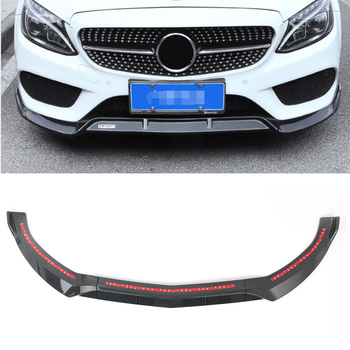 Carbon Fiber ABS Car Front Bumper Lip Splitter Cover Trim For Mercedes Benz C-Class W205 C180 C250 C300 C400 2015 2016 2017 2018 image