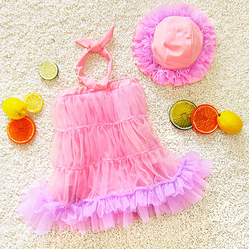 Cute Baby Girls Dress-Princess Infants Children Dance Large Children Students Bubble Hot Spring Swimsuit