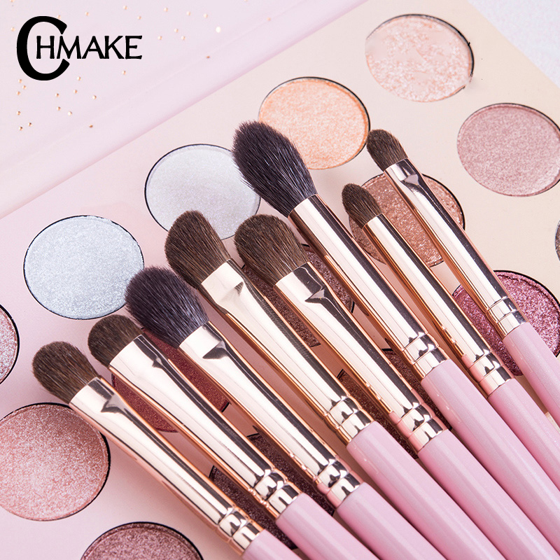 CHMAKE Professional 10PCS EyeShadow Eyebrow Brush Makeup Brushes Cosmetic Tool Make Up Eye Brushes Set Goat horse synthetic hair in Eye Shadow Applicator from Beauty Health