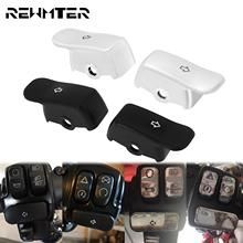 Motorcycle Button Extended Cover Turn Signal Extension Caps Switch Black/Chrome For Harley Softail Breakout Deluxe Fatboy FLSTN