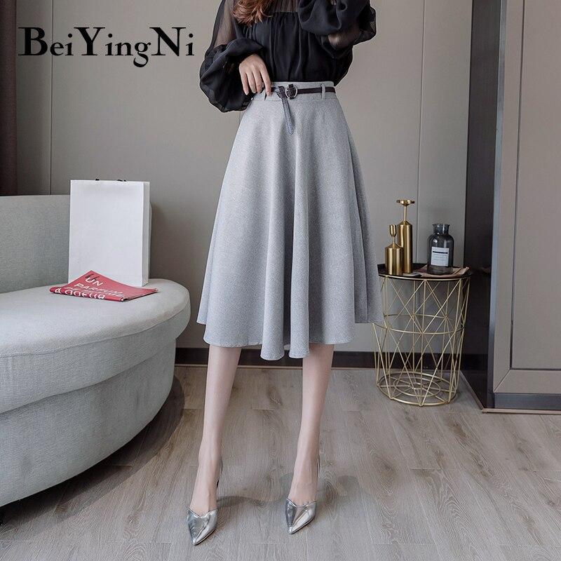 Beiyingni Vintage Skirt Women Belt A Line Swing Elegant KoreanHigh Waist Office Ladies Skirts Casual Spring Autumn  Skirt Female