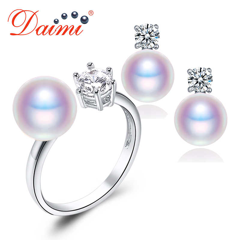 DMSFP046 7-8mm Natural Purple Pink White Black Pearl Earrings Ring Sets Natural Pearl Sets For Woman