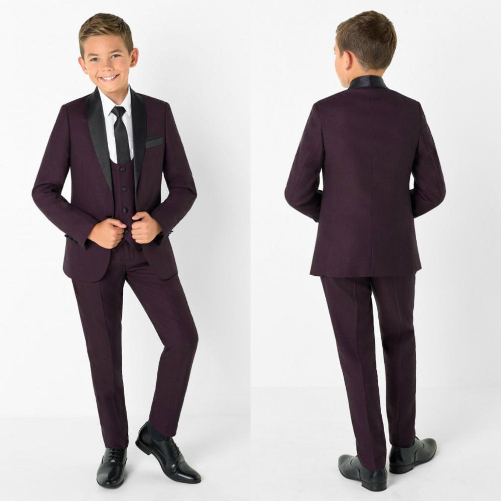 2020 Handsome Purple Boys Formal Wear Jacket Pants 3 Pieces Set Suits For Wedding Dinner Children Kids Tuxedos