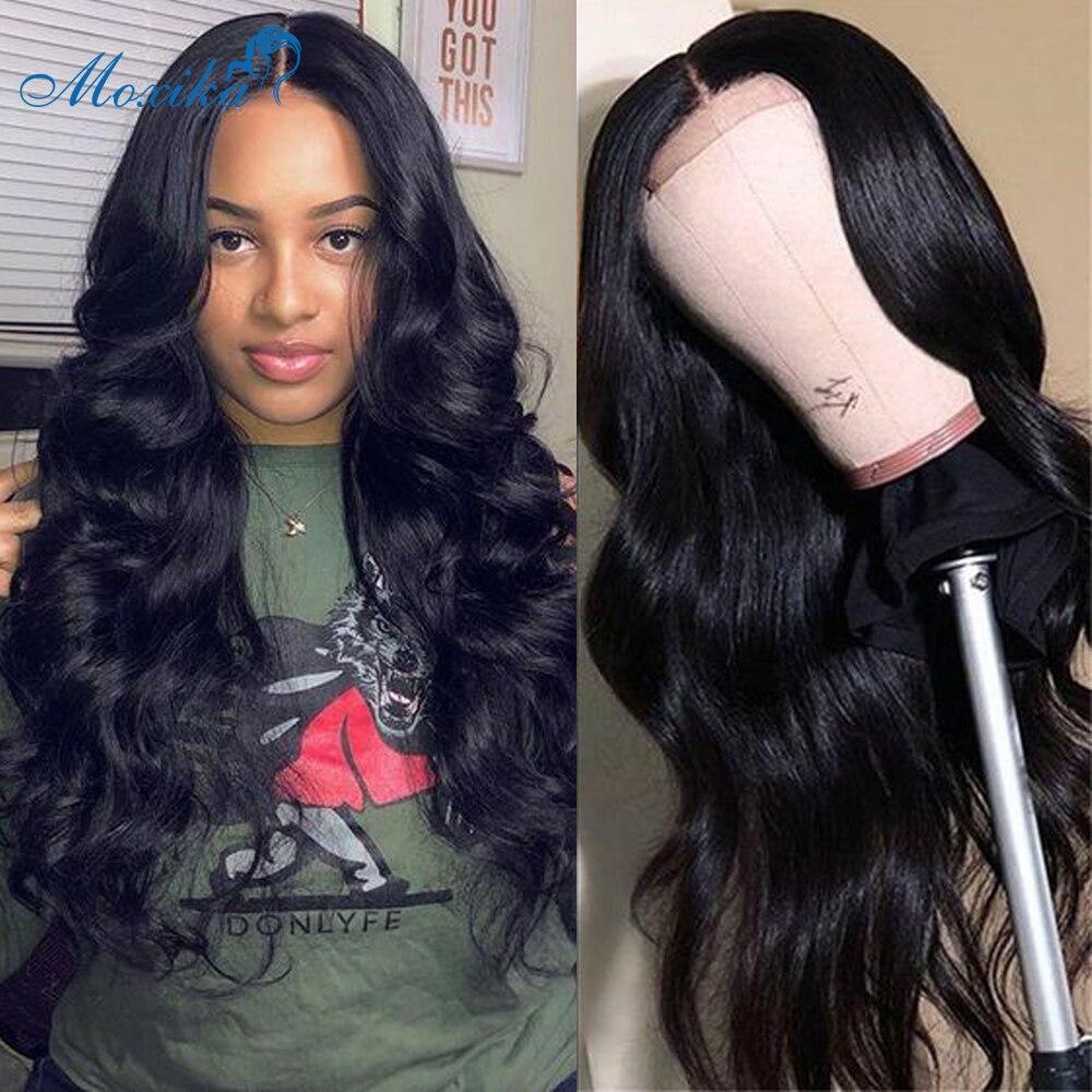 Moxika 4x4 brésilien cheveux humains dentelle fermeture perruques pour les femmes noires Remy cheveux vague de corps dentelle fermeture perruques avec des cheveux de bébé