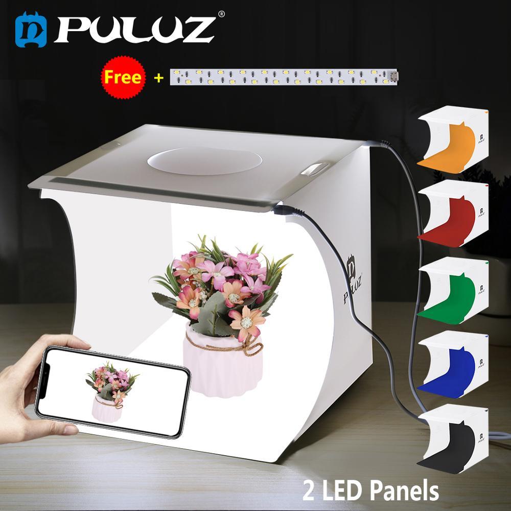 PULUZ 2LED Lightbox boîte lumineuse Mini Photo Studio boîte 1100LM photographie boîte lumière Studio tir tente boîte Kit et 6 couleurs décors