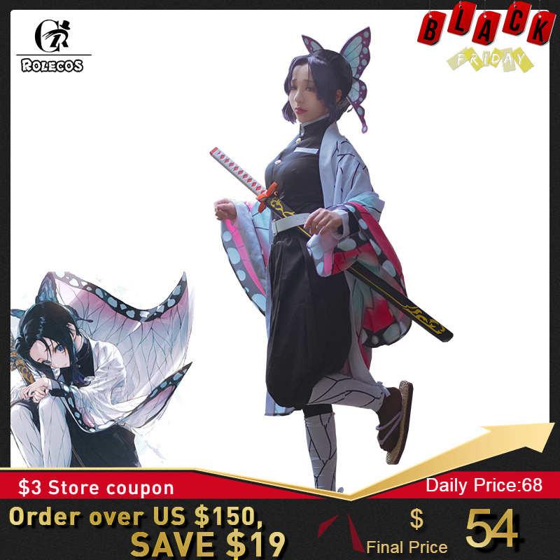 ROLECOS, аниме, Demon Slayer, косплей костюм, Kochou Shinobu Kimetsu no Yaiba, косплей костюм, Хэллоуин, женское кимоно, Униформа, плащ