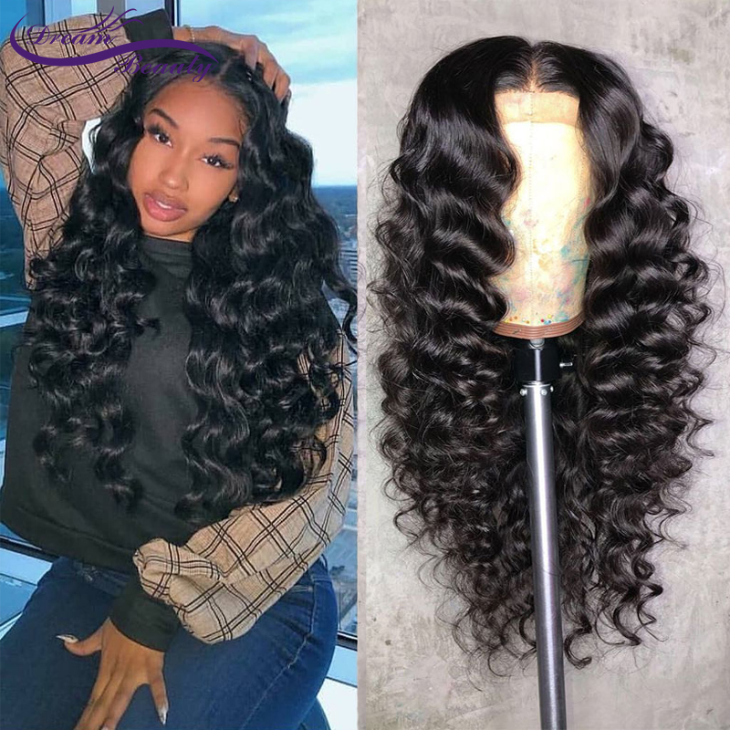 Wavy Human Hair Wigs Brazilian Non-Remy Hair 13x6 Lace Front Human Hair Wigs Baby Hair PrePlucked Bleached Knots Dream Beauty