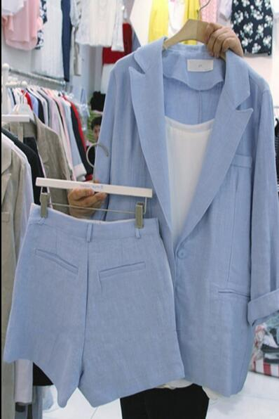 Lightblue Fashion Suit Women New Style Version Of Loose Cotton And Linen Small Suit Jacket Shorts Suit Linen Two-piece Women