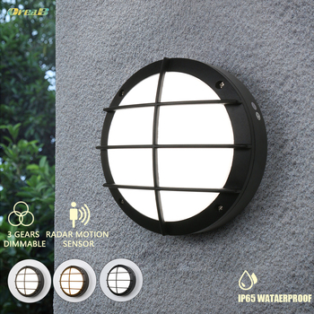 75 Led 15W 1200LM European Led Outdoor Wall Lamps Light Control Radar Sensor 3 Light Color Changeable Outdoor Wall Sconce Oreab tangspower 1200lm cree xml u2 4 leds 3 modes white light aluminum led flashlight