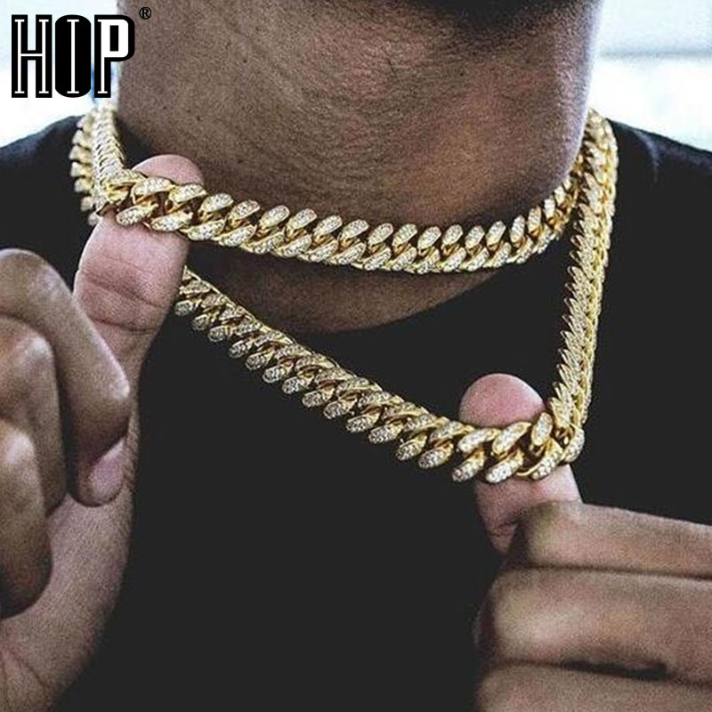 Hip Hop Miami Curb Kubanischen Kette Halskette 15MM Gold Iced Out Gepflasterte Strass CZ Bling Rapper Halsketten Männer Schmuck