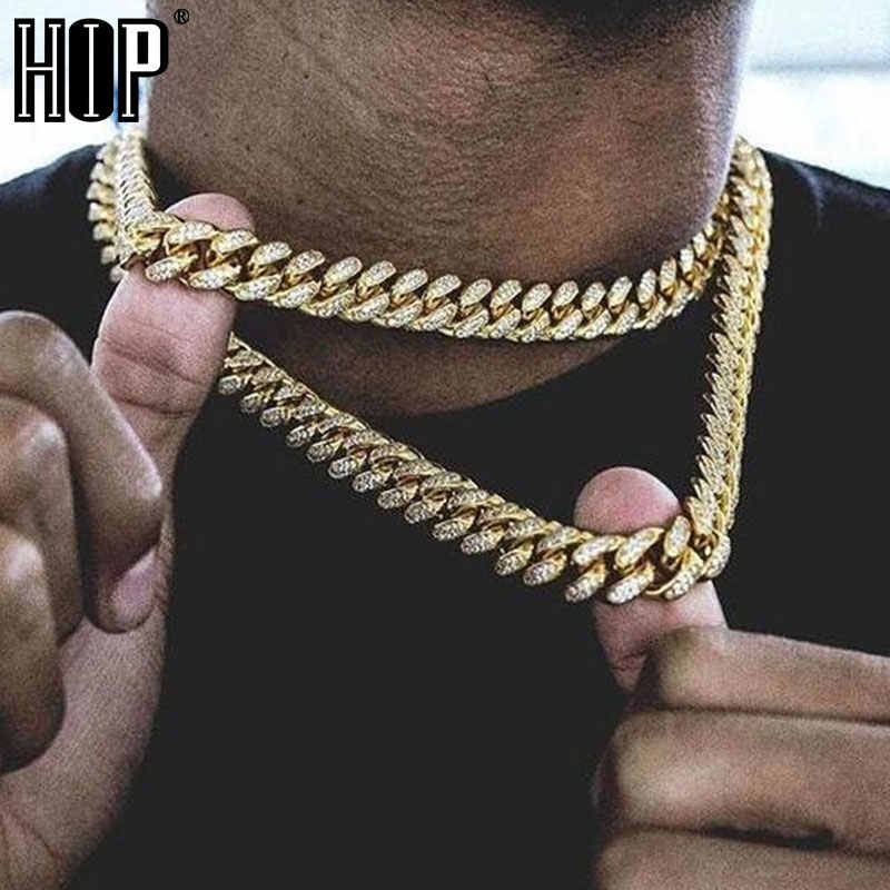 Hip Hop Miami gourmette cubaine chaîne collier 15MM or glacé pavé strass CZ Bling rappeur colliers hommes bijoux