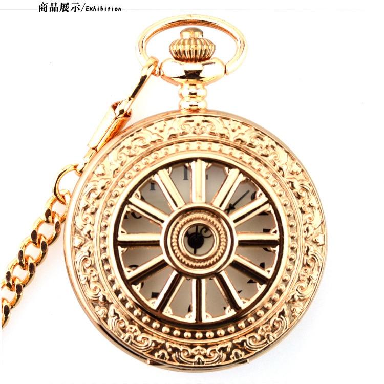 Retro Rosegold Unisex Pocket Watch Arabic Numerals Quartz Pocket & Fob Watches Men Women Fob Chain Clock Relogio De Bolso