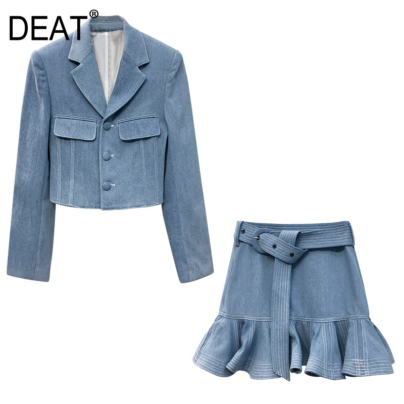 DEAT 2020 Fashion Women Clothing Notched Single Breasted Blue Blazer And High Waist A-line Short Skirt Set Waist Belt WL59605L