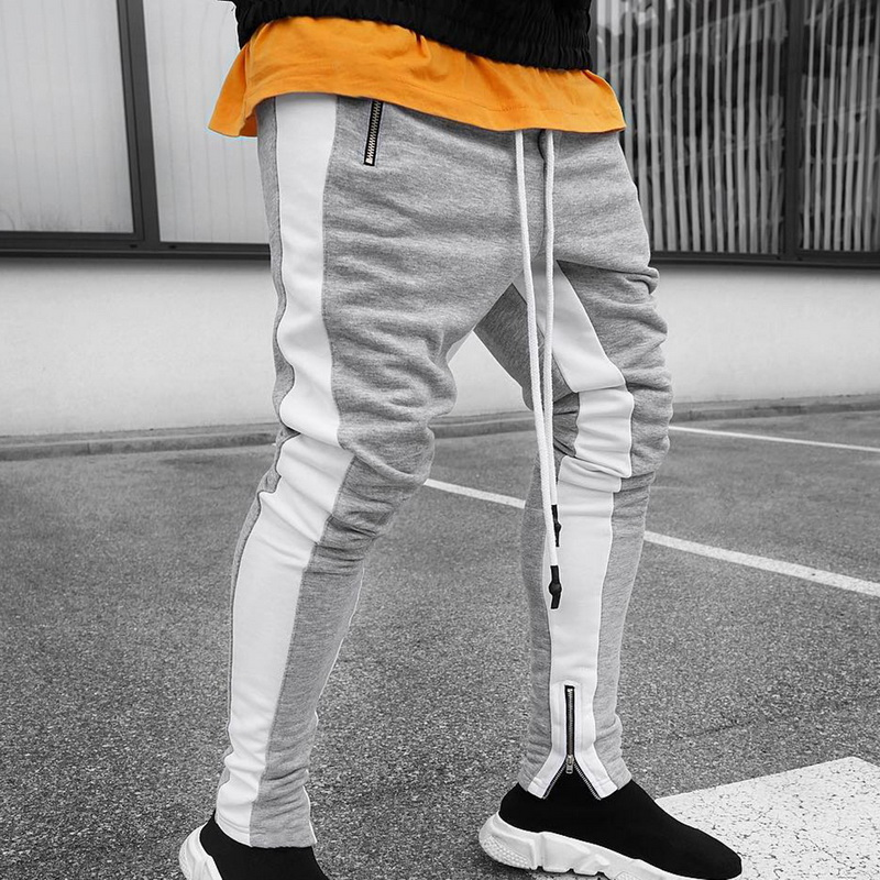 WENYUJH 2019 Autumn Men's Pant Mens Hip Hop Casual Joggers Striped Panelled Sweatpants Trousers Male Street Fashion Mens Pants