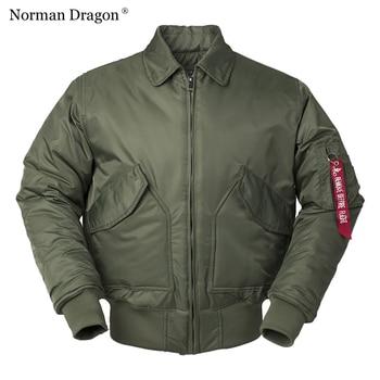 CWU/45P high quality thick nylon mens bomber jacket winter green black padded pilot flight windproof - discount item  48% OFF Parkas