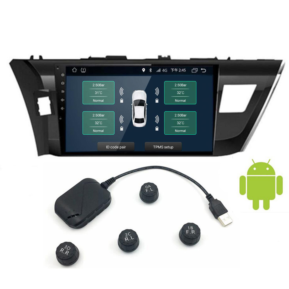 USB Android TPMS Car Tire Pressure Monitor with 4 External Sensors Monitoring Alarm System 5V Wireless