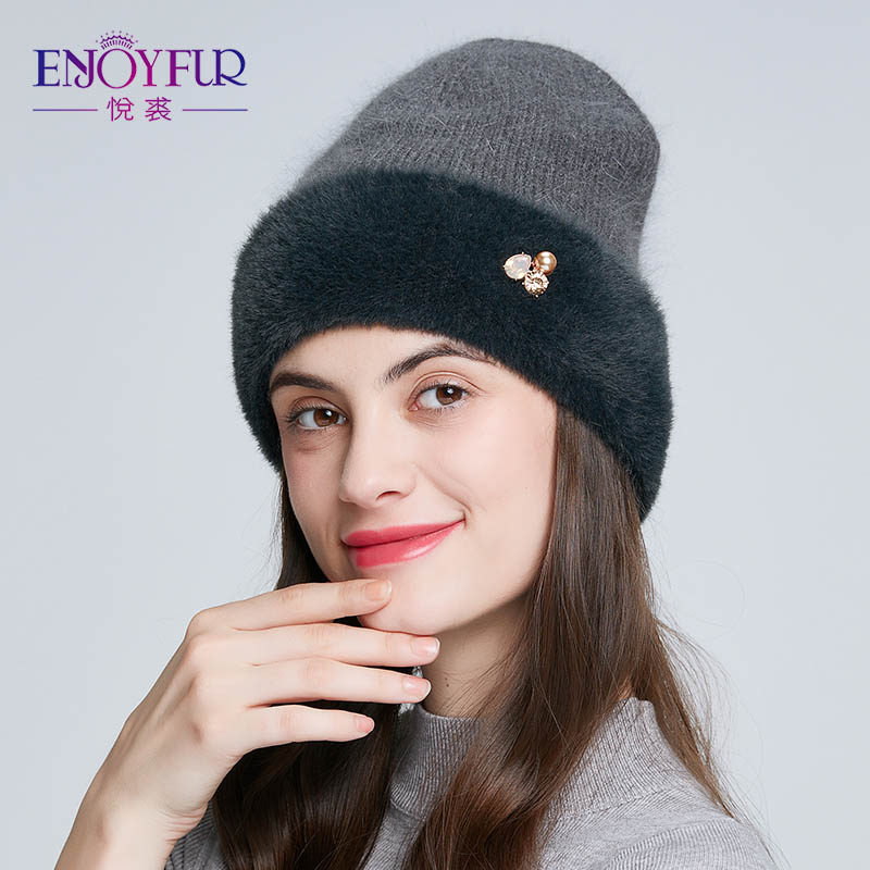 ENJOYFUR Winter Knitted Hats For Women High Quality Warm Rabbit Fur Hat Russian Female Casual Beanies With Rhinestones