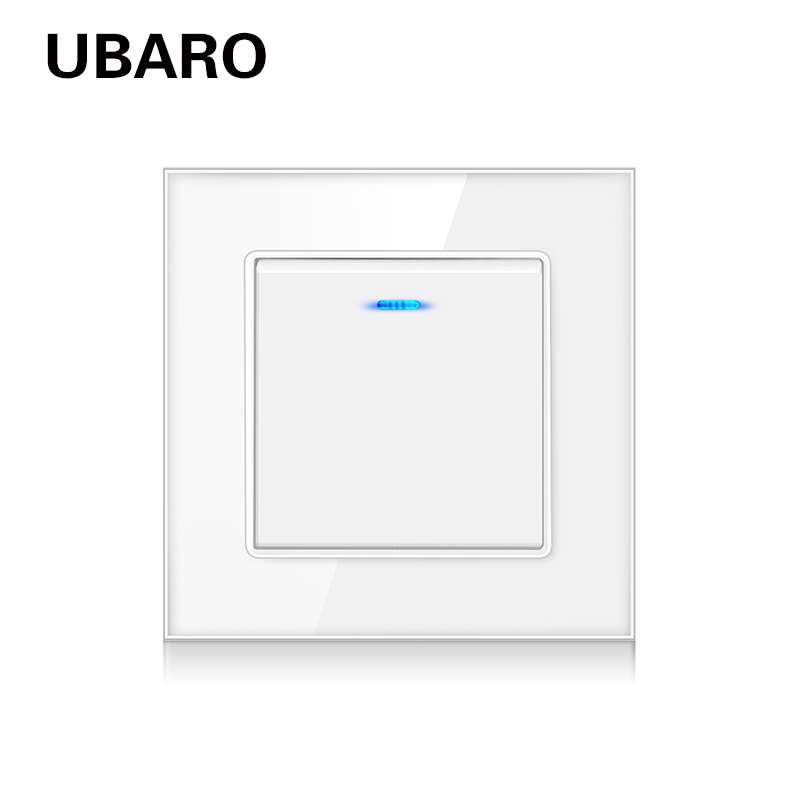 UBARO EU/Uk Tempered Glass Panel Wall Push Switch Dual Control PC Plastic Buttons LED Backligh 1Gang 2 Way Stair Switches 220V