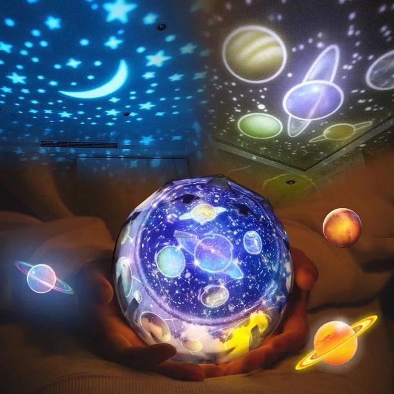 Cielo estrellado, luz nocturna, casa mágica, proyector planetario, universo, lámpara LED, rotación colorida, Estrella intermitente, lámpara de regalo para niños