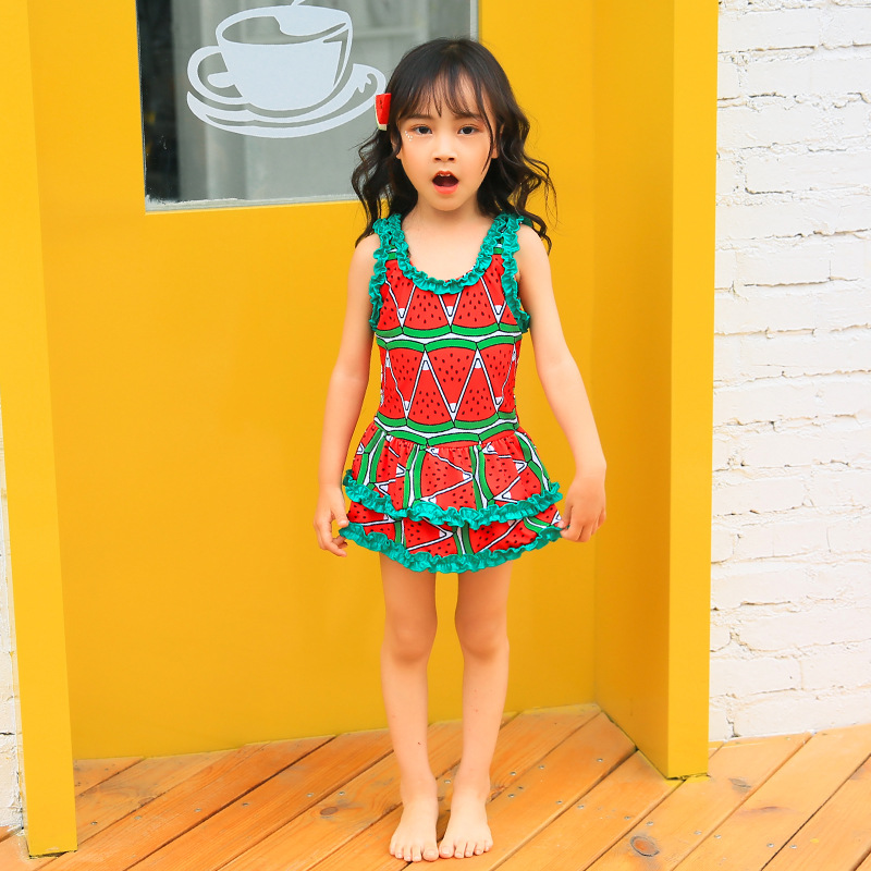 KID'S Swimwear New Style Cute Medium-small Girls GIRL'S Baby Dress-with Swim Cap Set South Korea Tour Bathing Suit