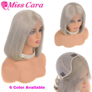 Lace-Frontal Hair-Wigs Grey Pink Miss-Cara Pre-Plucked 613 Peruvian Straight Remy 1b/27-Short