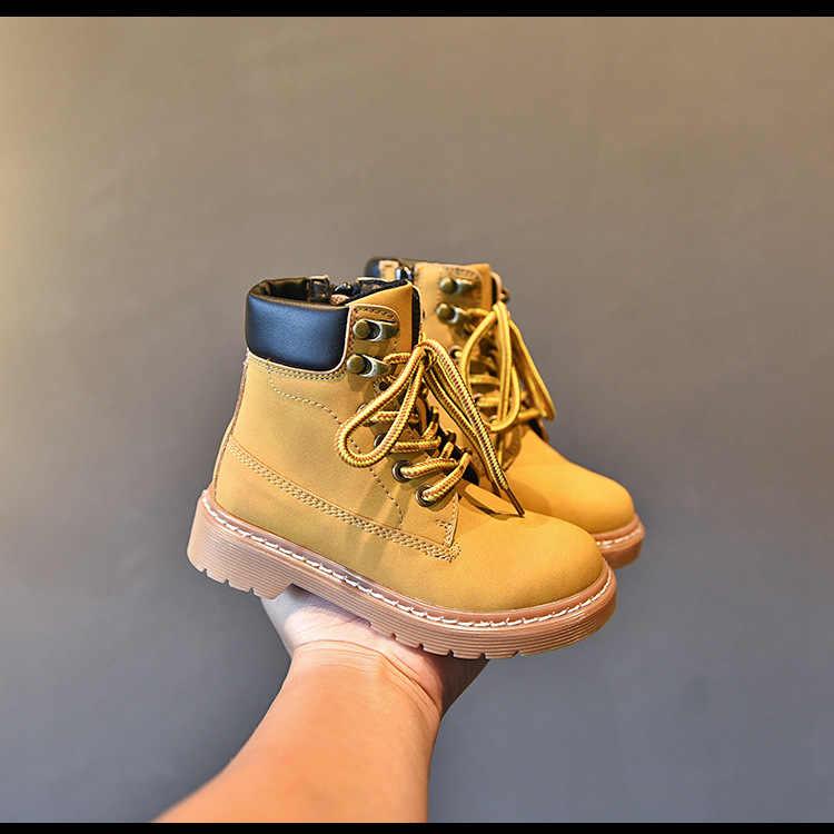 Mùa Đông Trẻ Em Giày Bốt Martin Trẻ Em Da Bò Bé Gái Cổ Chân Giày Bé Trai Vàng Thương Hiệu Thời Trang Giày Mềm Boot Casual